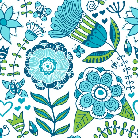 continuous: Floral seamless pattern, endless texture with flowers. Vector background for textile design. Illustration