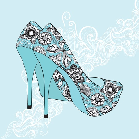 A high-heeled vintage shoes with flowers fabric. High heels background with place for you text Vector