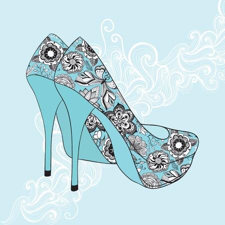 zapatos azules: A los zapatos cl�sicos de tac�n alto con flores de tela. Talones de fondo de alta con el lugar para que el texto Vectores