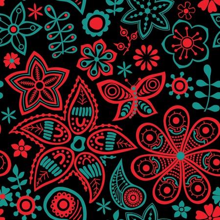 sin fin: Patr�n floral sin fisuras, la textura infinita de flores. Vector de antecedentes para el dise�o textil. Vectores