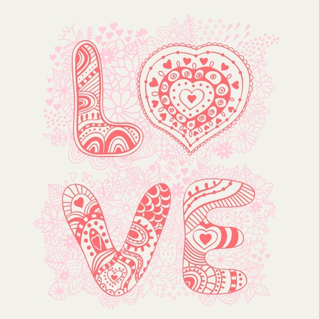 The word love.Romantic background Vector