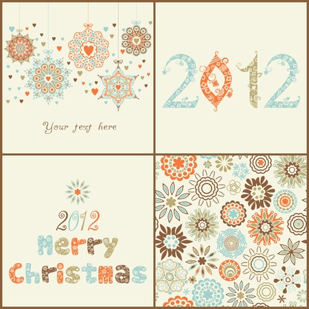 Vintage Christmas set. of four backgrounds. Retro Christmas elements for design:ornate Christmas balls, 2012 ornamental font, seamless texture with snowflakes and stylized Christmas tree. Vector
