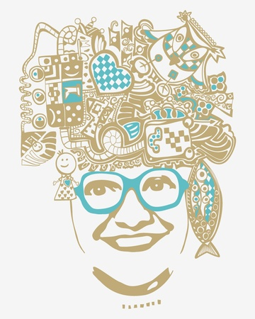 Smiling woman with thoughts instead of her hair Vector