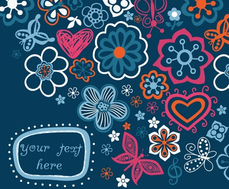 floral background with frame for your text Vector
