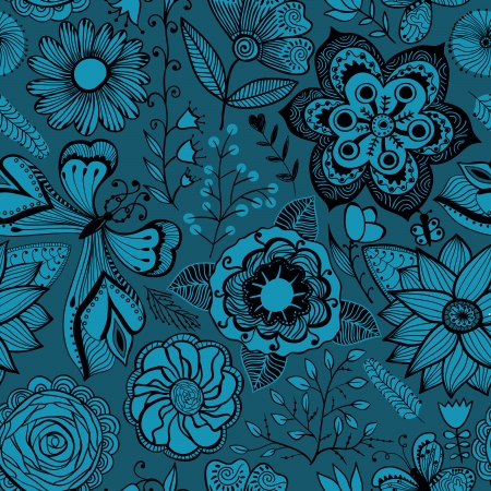 Seamless texture with flowers and butterflies. Endless floral pattern. Illustration