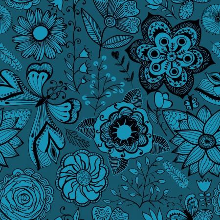 sin fin: Textura sin fisuras con flores y mariposas. Estampado de flores sin fin.