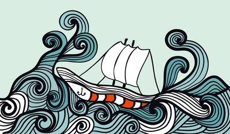 caravelle: voilier dans l'oc�an temp�te