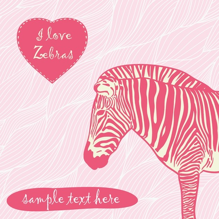 zebra with place for text Vector