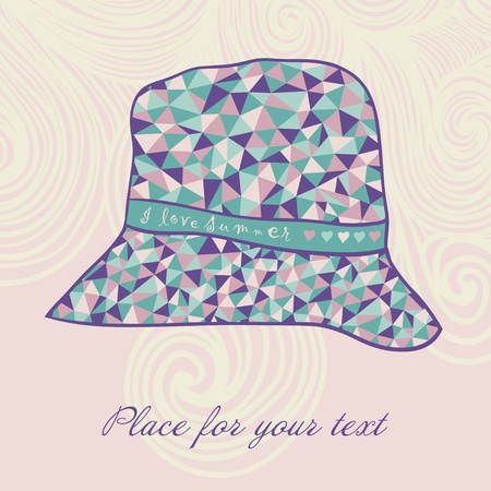 fashion hat made of triangles fabric, I love summer hat Vector