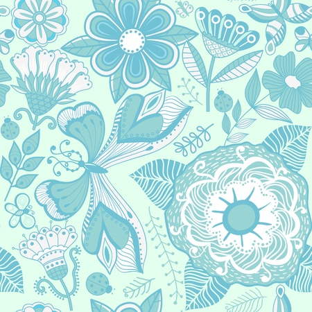 Seamless texture with flowers and butterflies. Endless floral pattern. Vector