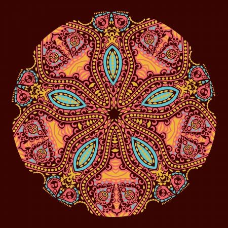 east indian: motivo ornamental de encaje redondo, de fondo c�rculo con muchos detalles, se parece a crochet encaje hecho a mano Vectores