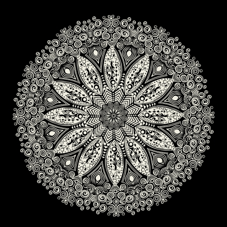 arabesque antique: ornamental round lace pattern, circle background with many details, looks like crocheting handmade lace Illustration