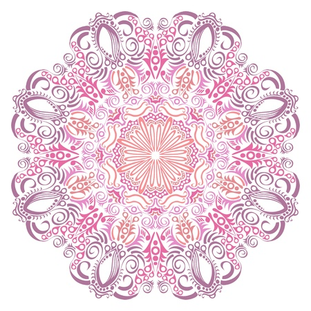 ornamental round lace pattern, circle background with many details, looks like crocheting handmade lace Illustration