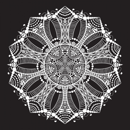 lace like: ornamental round lace pattern, circle background with many details, looks like crocheting handmade lace Illustration