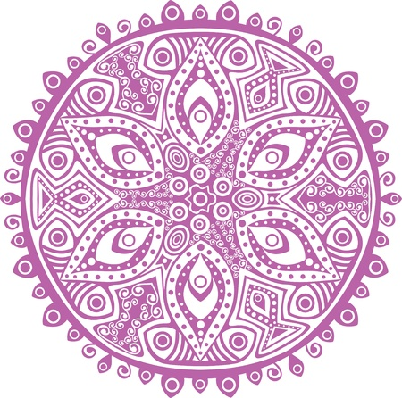 flower structure: ornamental round lace pattern, circle background with many details, looks like crocheting handmade lace Illustration