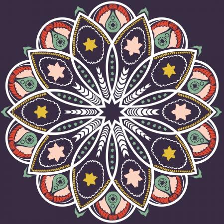 motivo ornamental de encaje redondo, de fondo círculo con muchos detalles, se parece a crochet encaje hecho a mano