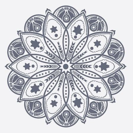 oriente: motivo ornamental de encaje redondo, de fondo círculo con muchos detalles, se parece a crochet encaje hecho a mano Vectores
