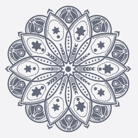 fancywork: ornamental round lace pattern, circle background with many details, looks like crocheting handmade lace Illustration