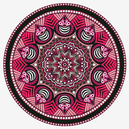 east indian: ornamental round lace pattern, circle background with many details, looks like crocheting handmade lace Illustration