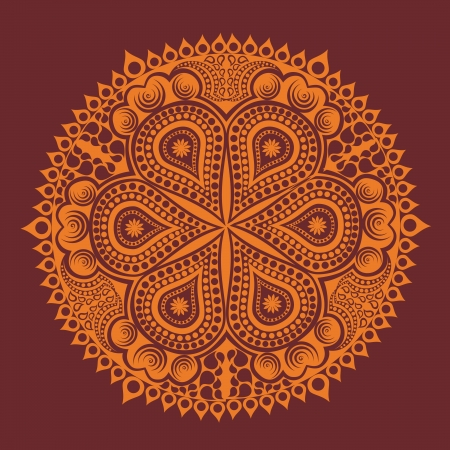 mongoloid: ornamental round lace pattern, circle background with many details, looks like crocheting handmade lace Illustration