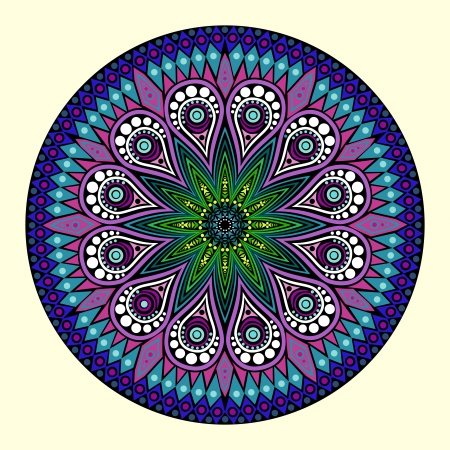曼陀羅: 装飾的なラウンド レース パターン、円の背景多くの詳細にハンドメイドのレースをかぎ針編みのように見える