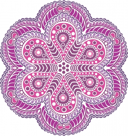 symmetry: ornamental round lace pattern, circle background with many details, looks like crocheting handmade lace Illustration