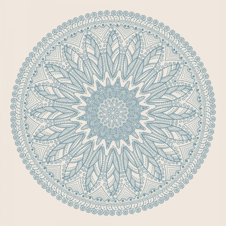 antique asian: ornamental round lace pattern, circle background with many details, looks like crocheting handmade lace Illustration
