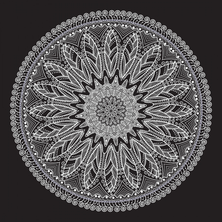 round: ornamental round lace pattern, circle background with many details, looks like crocheting handmade lace Illustration