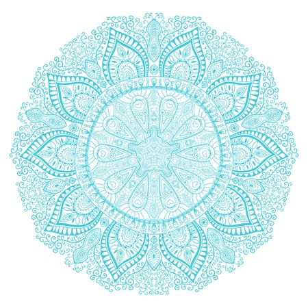 ornamental round lace pattern, circle background with many details, looks like crocheting handmade lace Vector