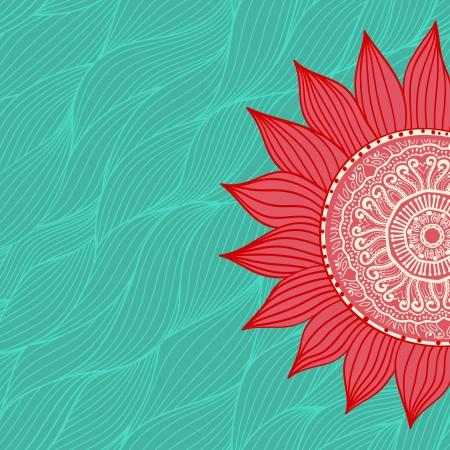 mandala flower: ornamental round lace pattern, circle background with many details, looks like crocheting handmade lace Illustration