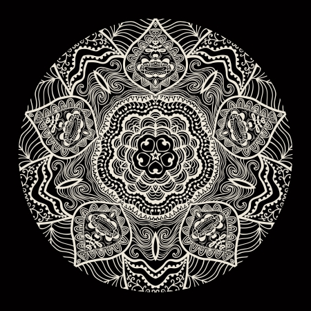 east indian: patr�n ornamental del cord�n redondo, fondo c�rculo con muchos detalles, parece ganchillo encaje hecho a mano Vectores