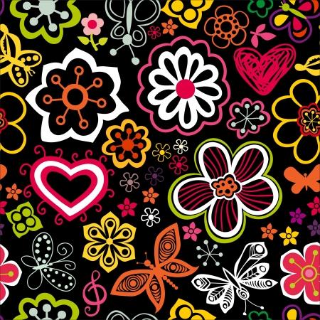 mariposa caricatura: Colorido patrón floral en estilo de dibujos animados. Vectores