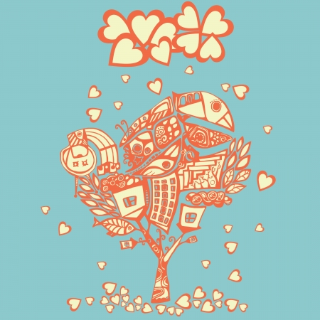 stylized psychedelic tree under the hearts rain