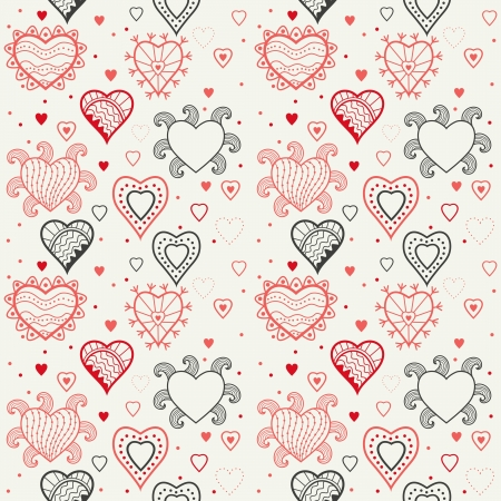 sentimental: hearts seamless pattern, romantic hearts seamless background Illustration