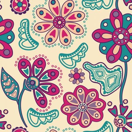 Colorful Floral seamless in stile cartone animato. Seamless pattern può essere utilizzato per carta da parati, riempimenti a motivo, pagina web, texture di superficie. Splendida seamless floral background Archivio Fotografico - 21265447