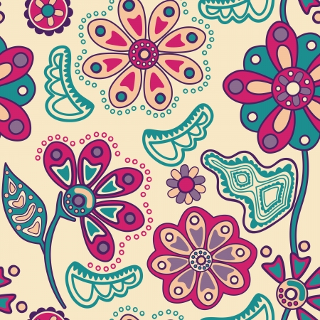textiles: Colorful floral seamless pattern in cartoon style. Seamless pattern can be used for wallpaper, pattern fills, web page background,surface textures. Gorgeous seamless floral background