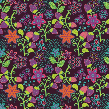 Floral Seamless Texture with a Strawberry Vector