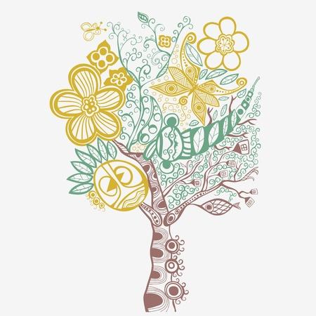 pea shrub: Surreal abstract tree art