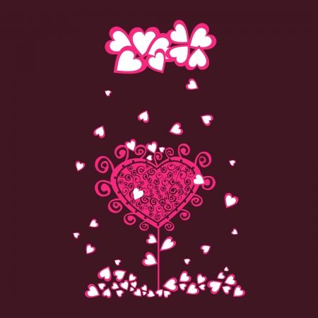 under heart: Original valentine tree under heart rain. Illustration