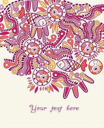 hand-drawn abstract design, ethnic abstract backdrop with place for your text Vector