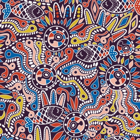 Ethnic seamless pattern. Copy square to the side and youll get seamlessly tiling pattern which gives the resulting image ability to be repeated or tiled without visible seams. Ilustração