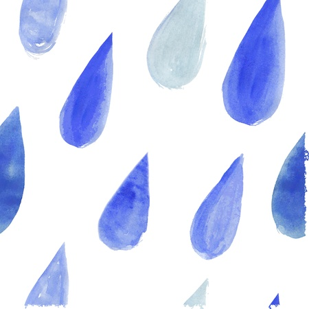 watercolor rain drops, seamless background with stylized blue raindrops.Wallpaper , creative watercolor fabric, blue wrapping with water drops ornaments - autumn theme for design.