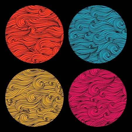 Set of colored round shape made of waves ornaments. Elements for your design. Vector
