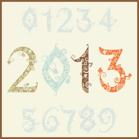 two thousand: New year 2013 (two thousand and thirteen). Set of stylized numbers