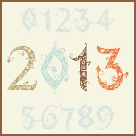 two thousand thirteen: Nuevo a�o 2013 (dos mil trece). Conjunto de n�meros estilizados Vectores