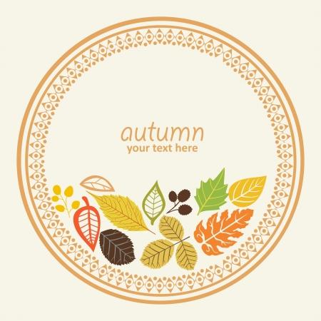 design round element with autumn leaf, illustration, decorative round frame Vector