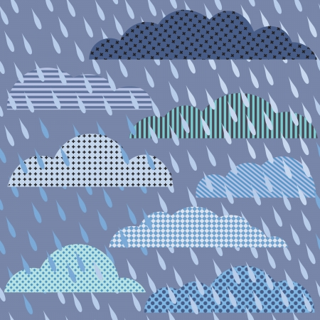 Rainy seamless pattern with clouds. Vector pattern Vector