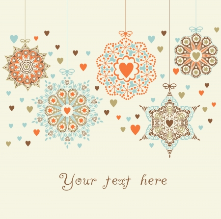 ornate christmas balls in hearts snowfall Vector