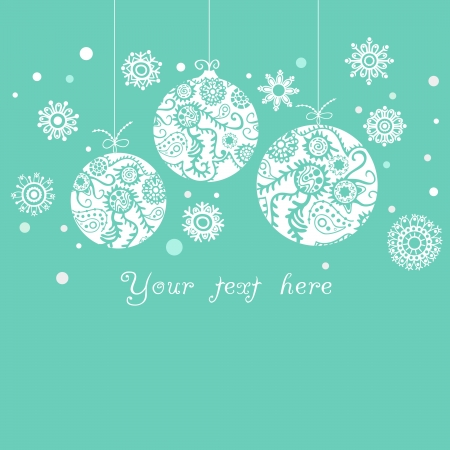 background with Christmas balls on blue Stock Vector - 21240748