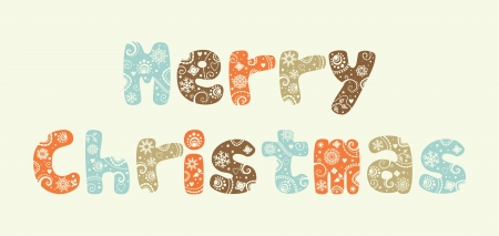 Merry Christmas , ornate letters background and snowflakes Stock Vector - 21240766